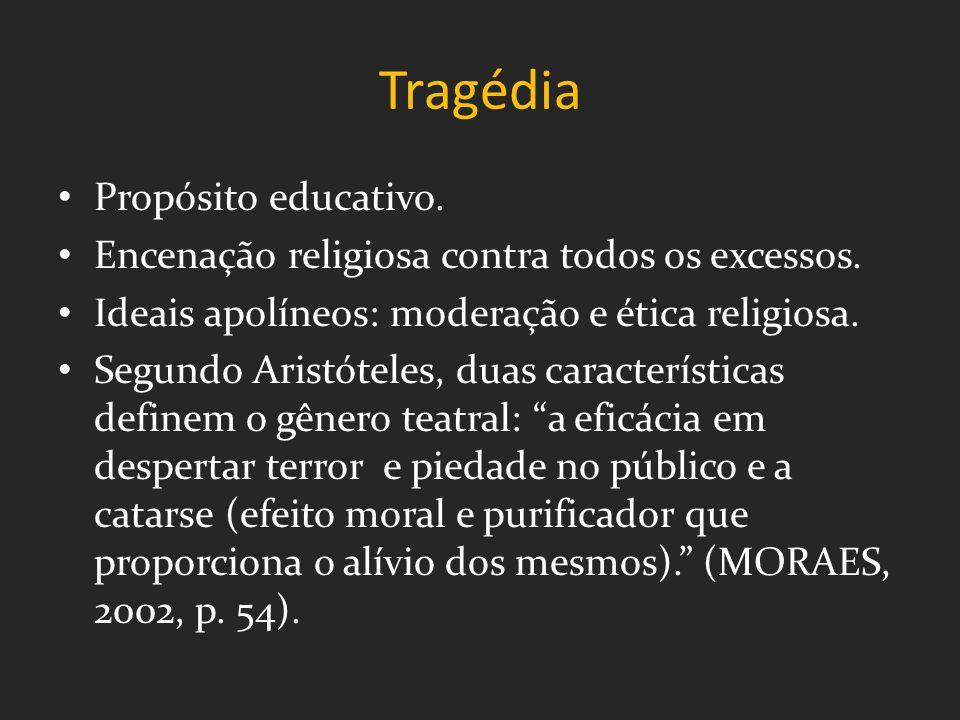 Tragédia Propósito educativo. Encenação religiosa contra todos os excessos. Ideais apolíneos: moderação e ética religiosa. Segundo Aristóteles, duas c