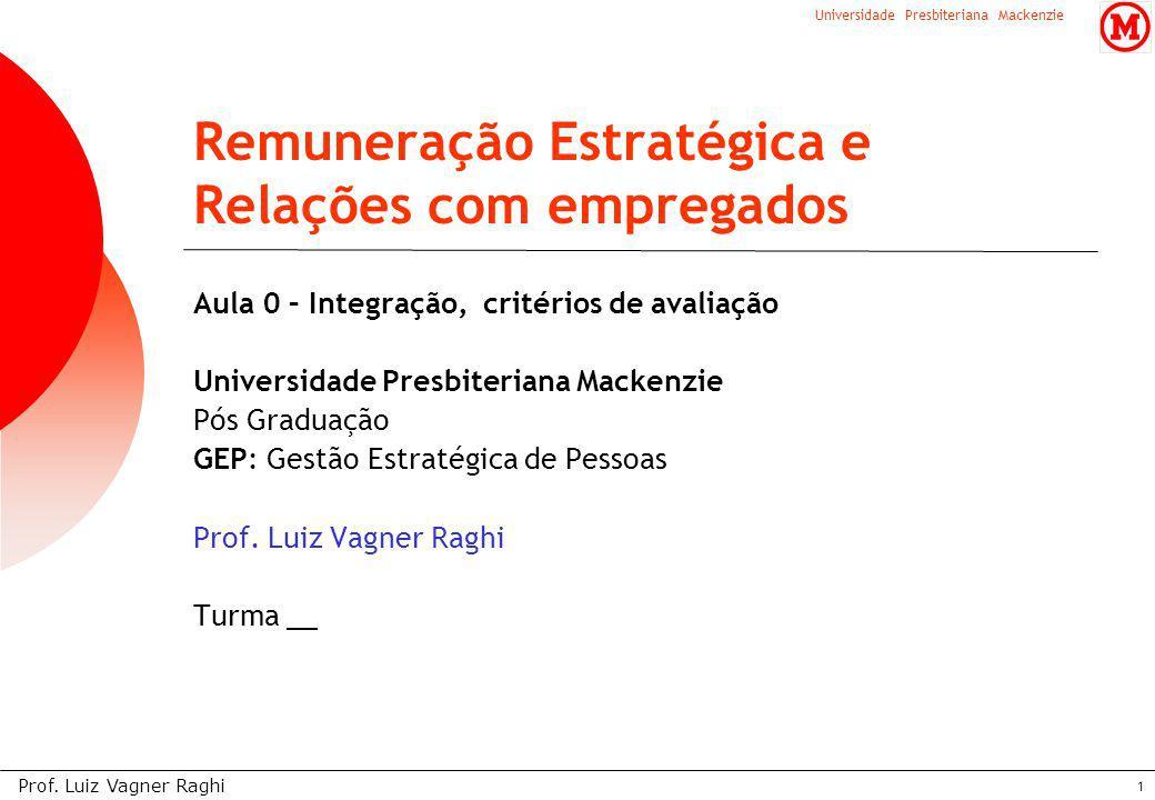 Universidade Presbiteriana Mackenzie Prof. Luiz Vagner Raghi 1 Aula 0 – Integração, critérios de avaliação Universidade Presbiteriana Mackenzie Pós Gr