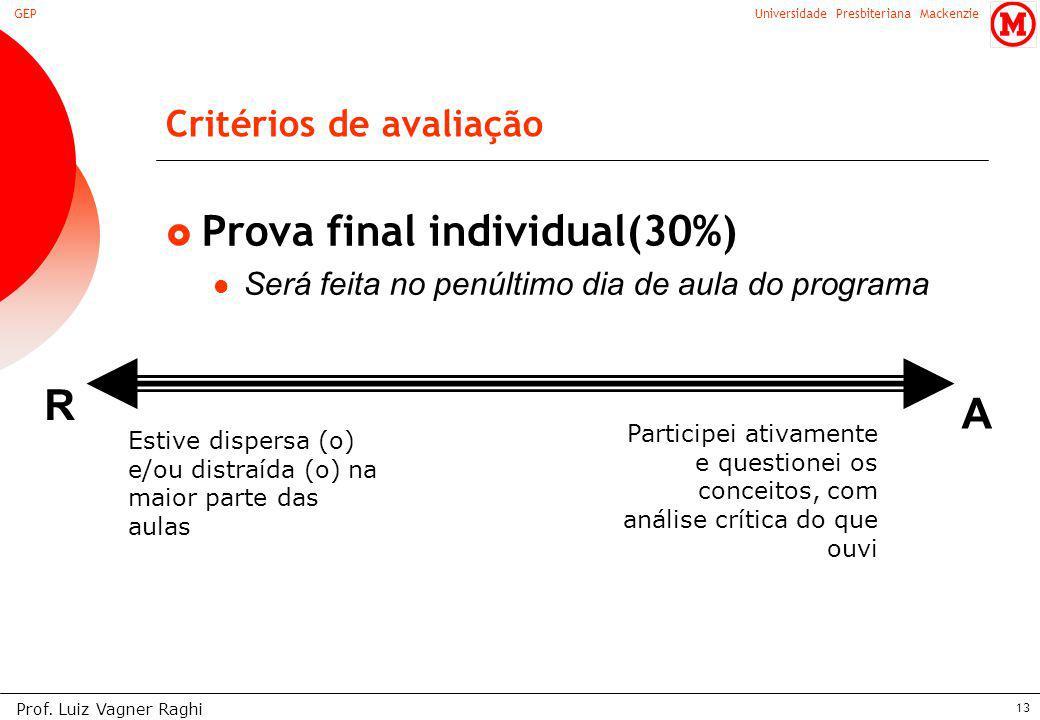 Universidade Presbiteriana MackenzieGEP Prof. Luiz Vagner Raghi 13 Critérios de avaliação Prova final individual(30%) Será feita no penúltimo dia de a