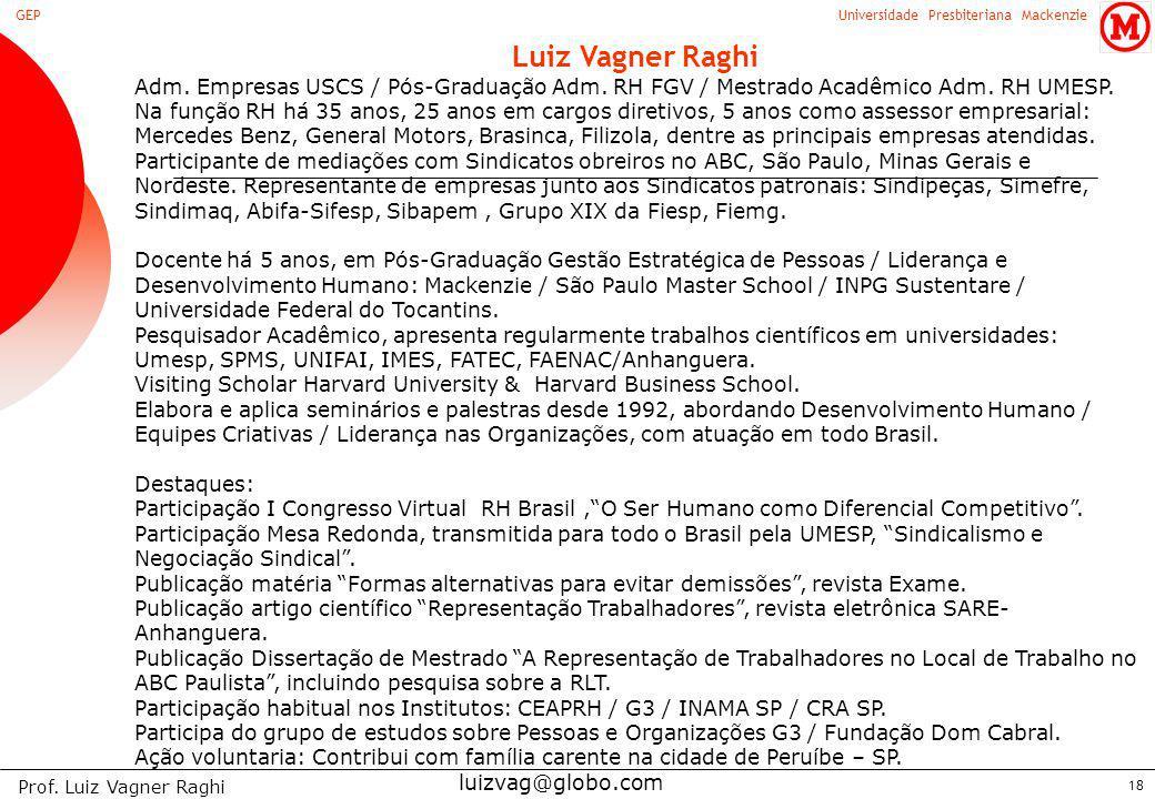 Universidade Presbiteriana MackenzieGEP Prof. Luiz Vagner Raghi 18 Luiz Vagner Raghi Adm. Empresas USCS / Pós-Graduação Adm. RH FGV / Mestrado Acadêmi
