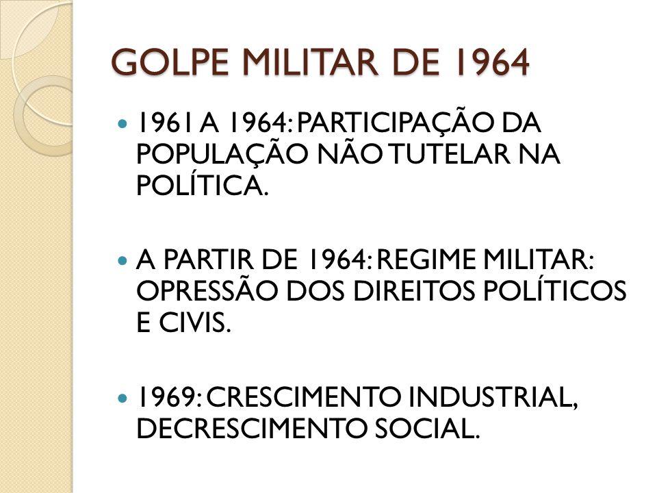 GOLPE MILITAR DE 1964 1961 A 1964: PARTICIPAÇÃO DA POPULAÇÃO NÃO TUTELAR NA POLÍTICA. A PARTIR DE 1964: REGIME MILITAR: OPRESSÃO DOS DIREITOS POLÍTICO