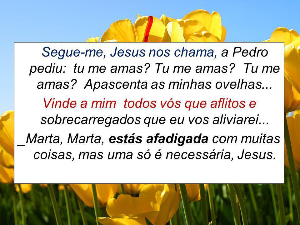 Segue-me, Jesus nos chama, a Pedro pediu: tu me amas? Tu me amas? Tu me amas? Apascenta as minhas ovelhas... Vinde a mim todos vós que aflitos e sobre