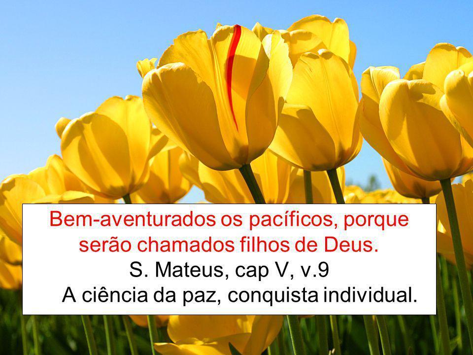 Bem-aventurados os pacíficos, porque serão chamados filhos de Deus. S. Mateus, cap V, v.9 A ciência da paz, conquista individual.