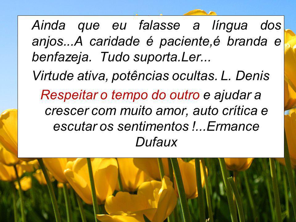 Ainda que eu falasse a língua dos anjos...A caridade é paciente,é branda e benfazeja. Tudo suporta.Ler... Virtude ativa, potências ocultas. L. Denis R