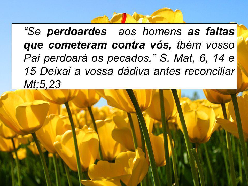 Se perdoardes aos homens as faltas que cometeram contra vós, tbém vosso Pai perdoará os pecados, S. Mat, 6, 14 e 15 Deixai a vossa dádiva antes reconc
