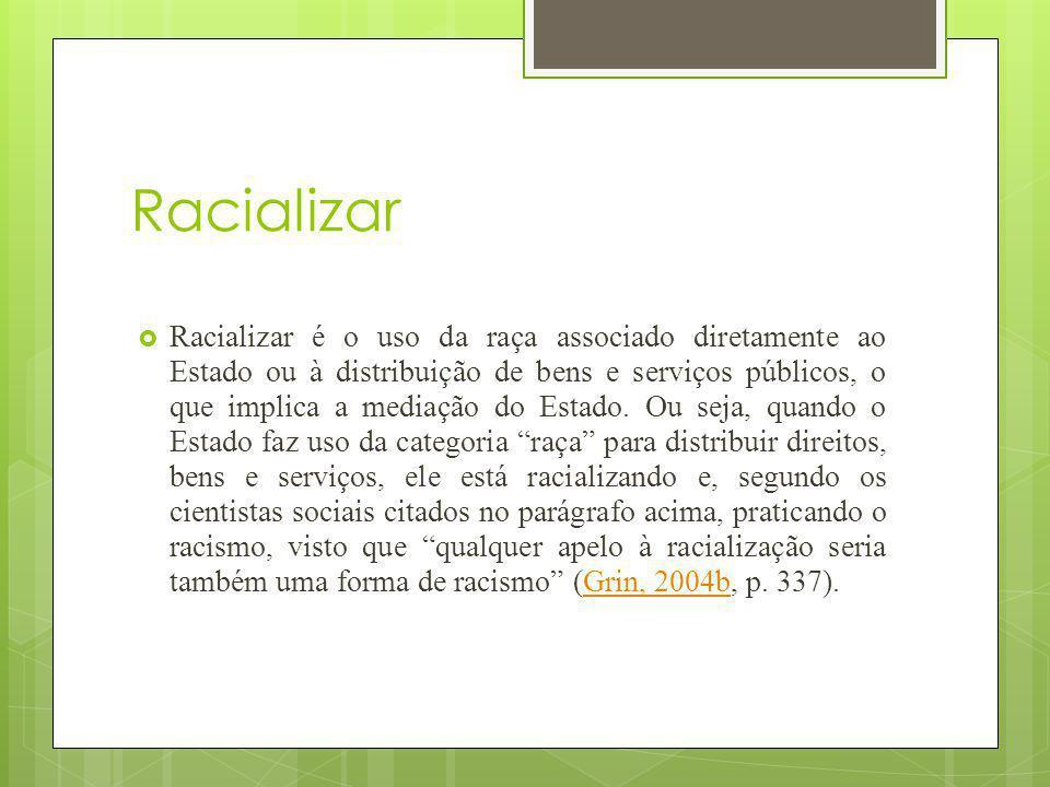 Racializar Racializar é o uso da raça associado diretamente ao Estado ou à distribuição de bens e serviços públicos, o que implica a mediação do Estad