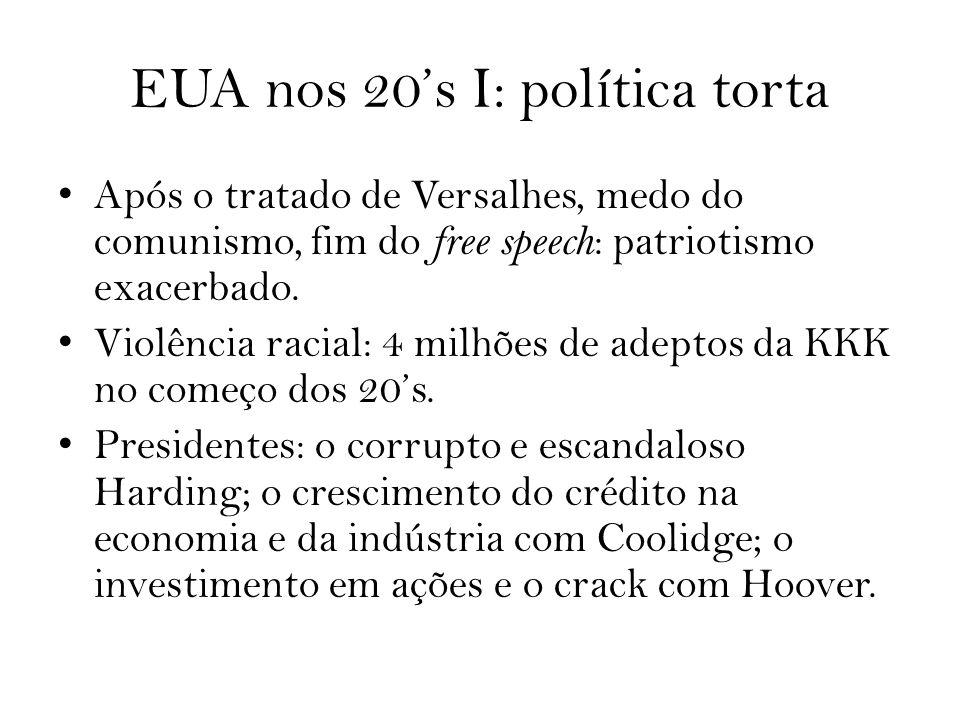 EUA nos 20s I: política torta Após o tratado de Versalhes, medo do comunismo, fim do free speech : patriotismo exacerbado. Violência racial: 4 milhões