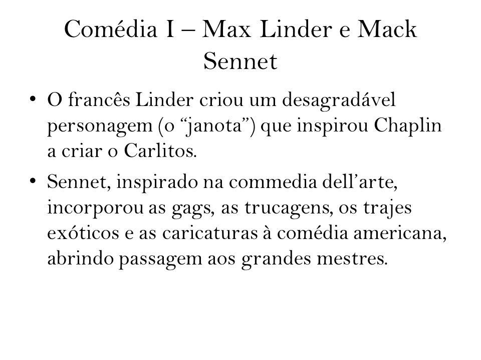 Comédia I – Max Linder e Mack Sennet O francês Linder criou um desagradável personagem (o janota) que inspirou Chaplin a criar o Carlitos. Sennet, ins