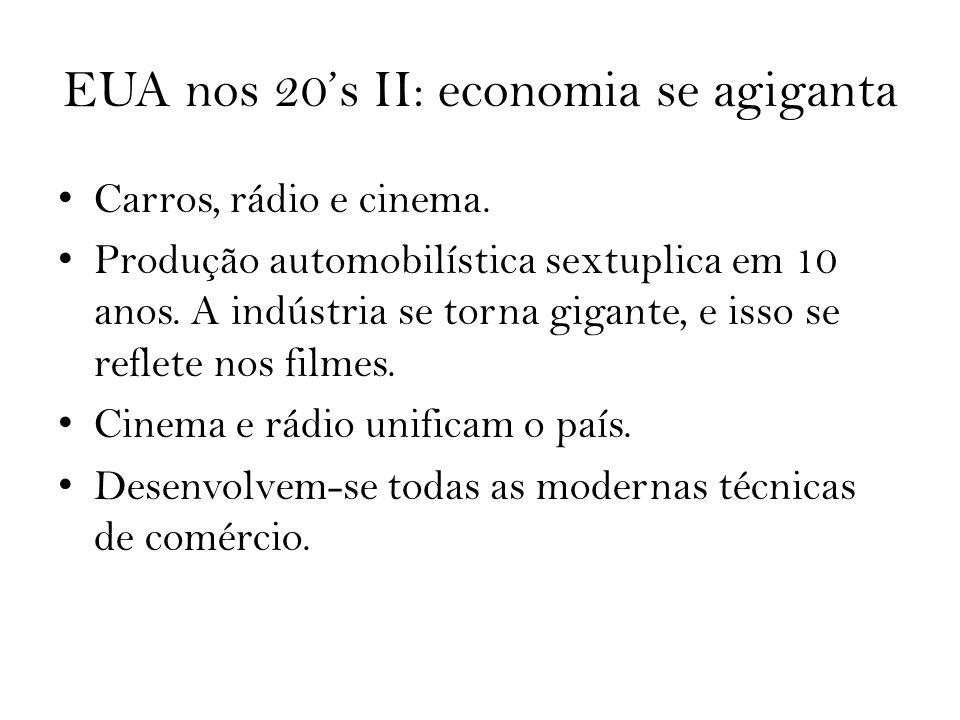 EUA nos 20s II: economia se agiganta Carros, rádio e cinema. Produção automobilística sextuplica em 10 anos. A indústria se torna gigante, e isso se r