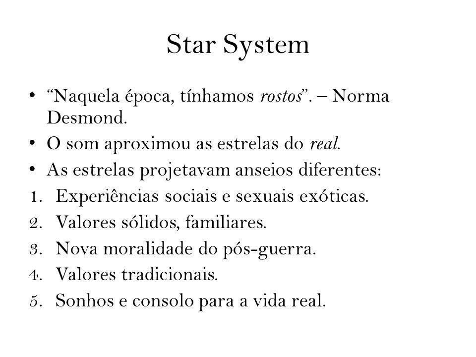 Star System Naquela época, tínhamos rostos. – Norma Desmond. O som aproximou as estrelas do real. As estrelas projetavam anseios diferentes: 1.Experiê