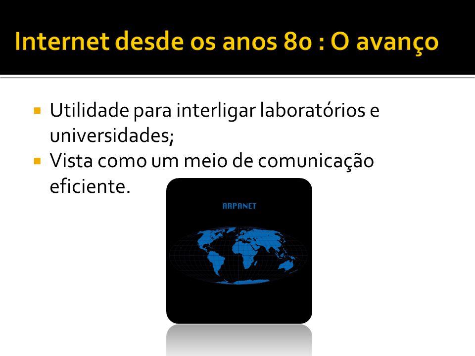 Utilidade para interligar laboratórios e universidades; Vista como um meio de comunicação eficiente.