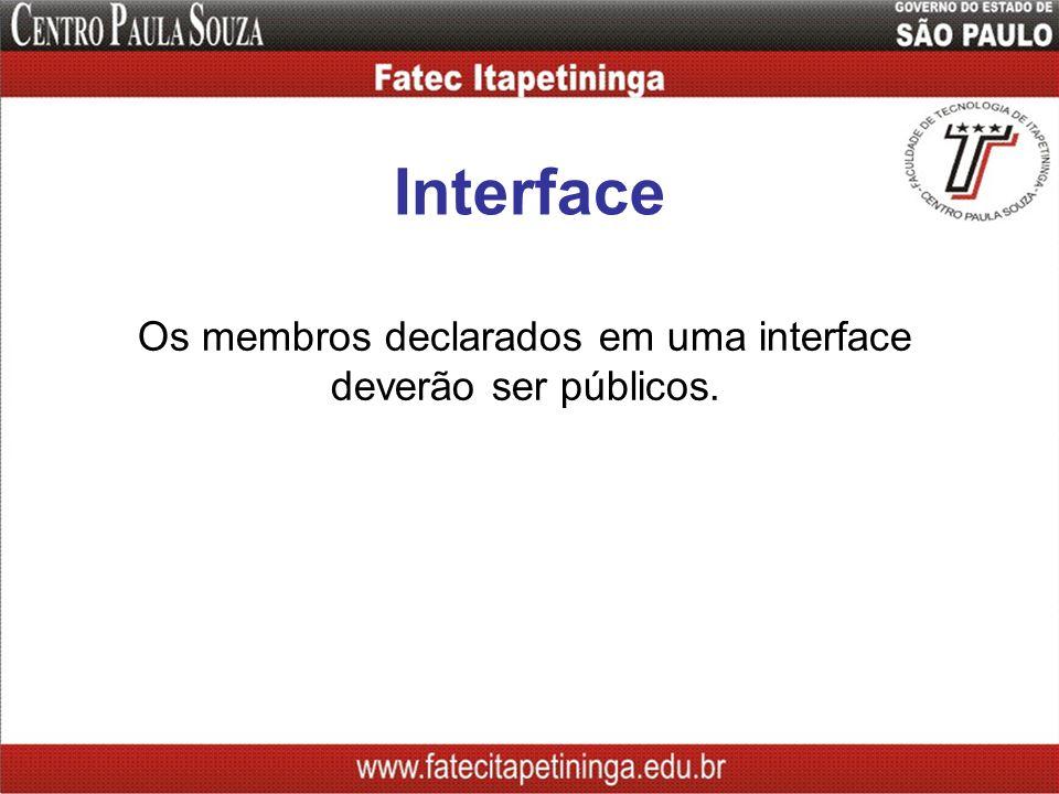 Interface Os membros declarados em uma interface deverão ser públicos.