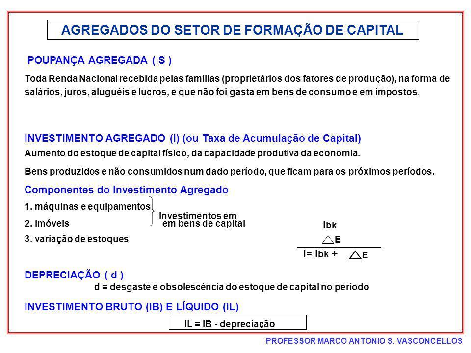 PROFESSOR MARCO ANTONIO S. VASCONCELLOS AGREGADOS DO SETOR DE FORMAÇÃO DE CAPITAL POUPANÇA AGREGADA ( S ) Toda Renda Nacional recebida pelas famílias