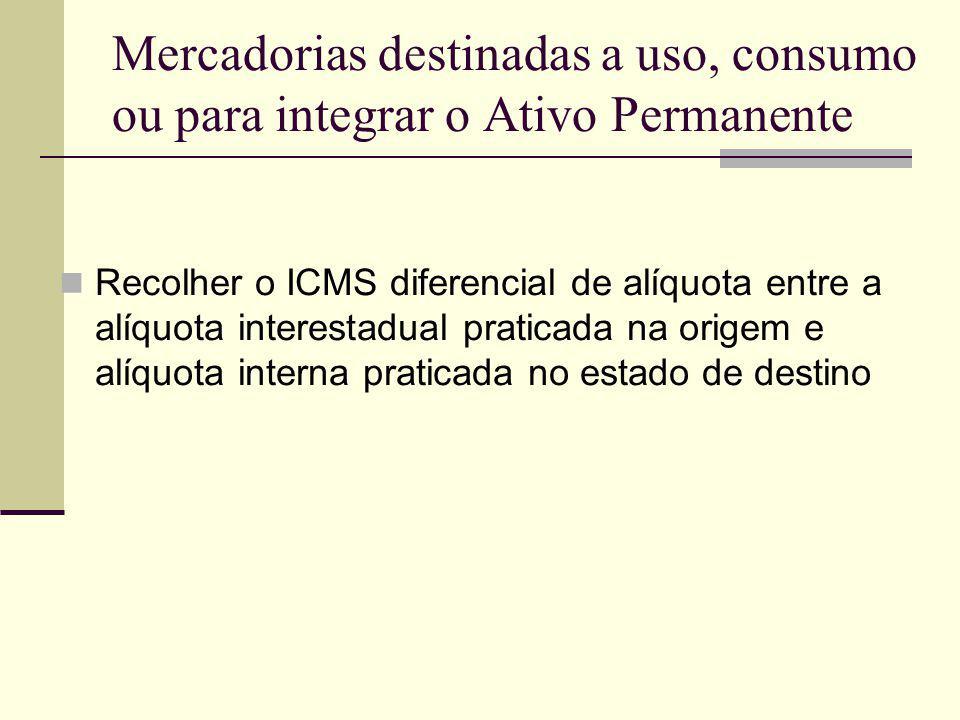 Mercadorias destinadas a uso, consumo ou para integrar o Ativo Permanente Recolher o ICMS diferencial de alíquota entre a alíquota interestadual prati
