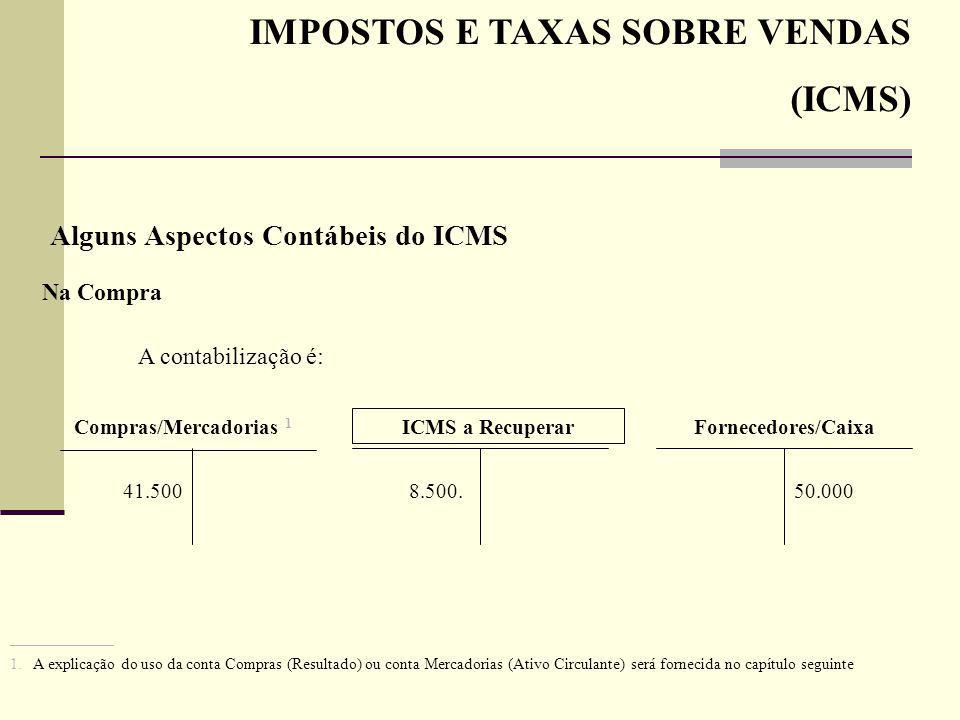 IMPOSTOS E TAXAS SOBRE VENDAS (ICMS) Alguns Aspectos Contábeis do ICMS Na Compra A contabilização é: Compras/Mercadorias 1 41.500 ICMS a Recuperar 8.5