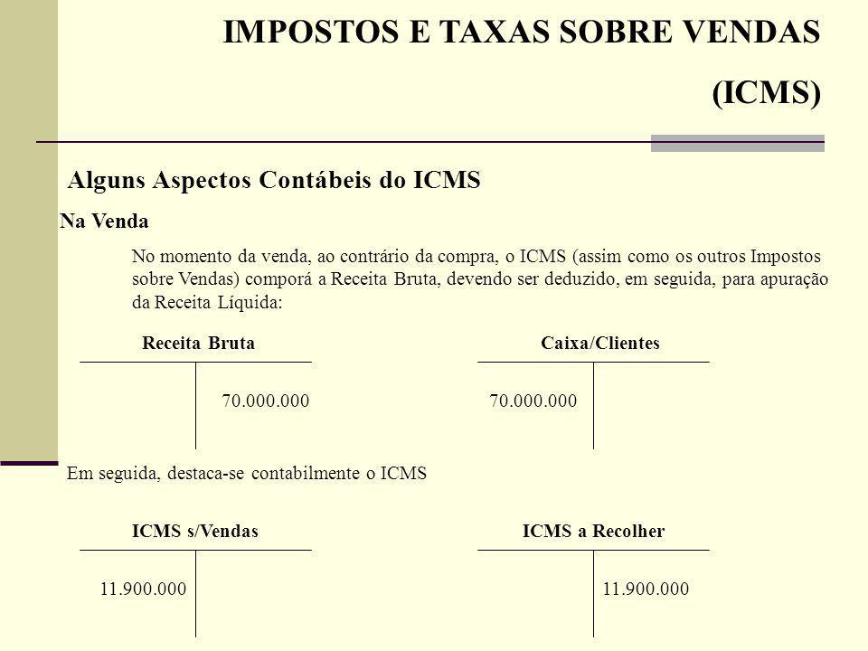 IMPOSTOS E TAXAS SOBRE VENDAS (ICMS) Alguns Aspectos Contábeis do ICMS Na Venda No momento da venda, ao contrário da compra, o ICMS (assim como os out