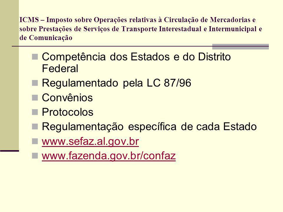 ICMS – Imposto sobre Operações relativas à Circulação de Mercadorias e sobre Prestações de Serviços de Transporte Interestadual e Intermunicipal e de