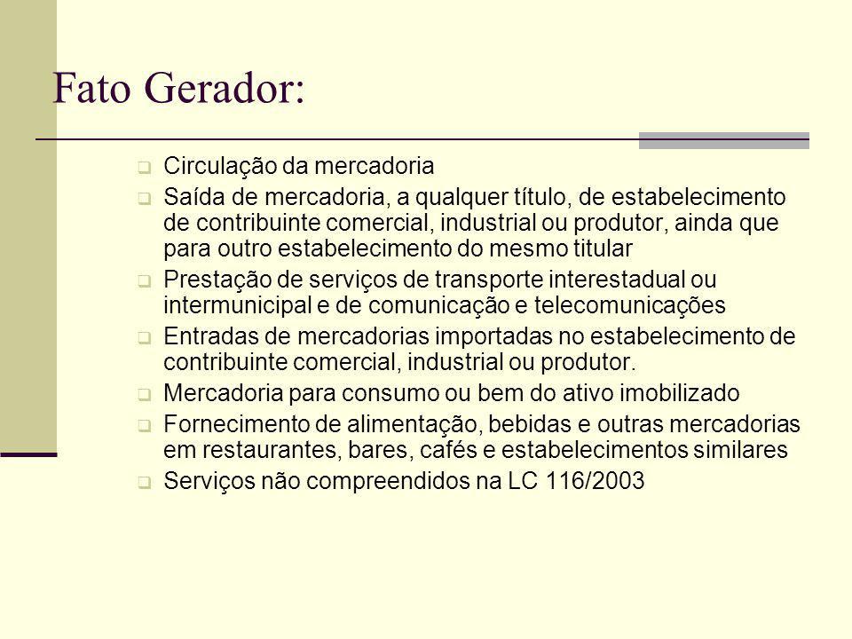Fato Gerador: Circulação da mercadoria Saída de mercadoria, a qualquer título, de estabelecimento de contribuinte comercial, industrial ou produtor, a