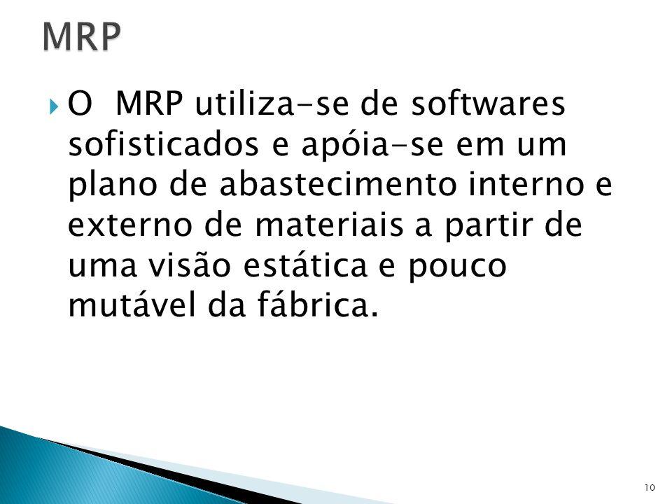 O MRP utiliza-se de softwares sofisticados e apóia-se em um plano de abastecimento interno e externo de materiais a partir de uma visão estática e pouco mutável da fábrica.