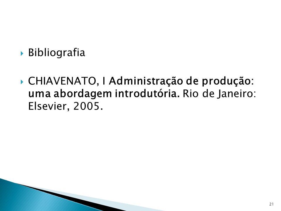 Bibliografia CHIAVENATO, I Administração de produção: uma abordagem introdutória.