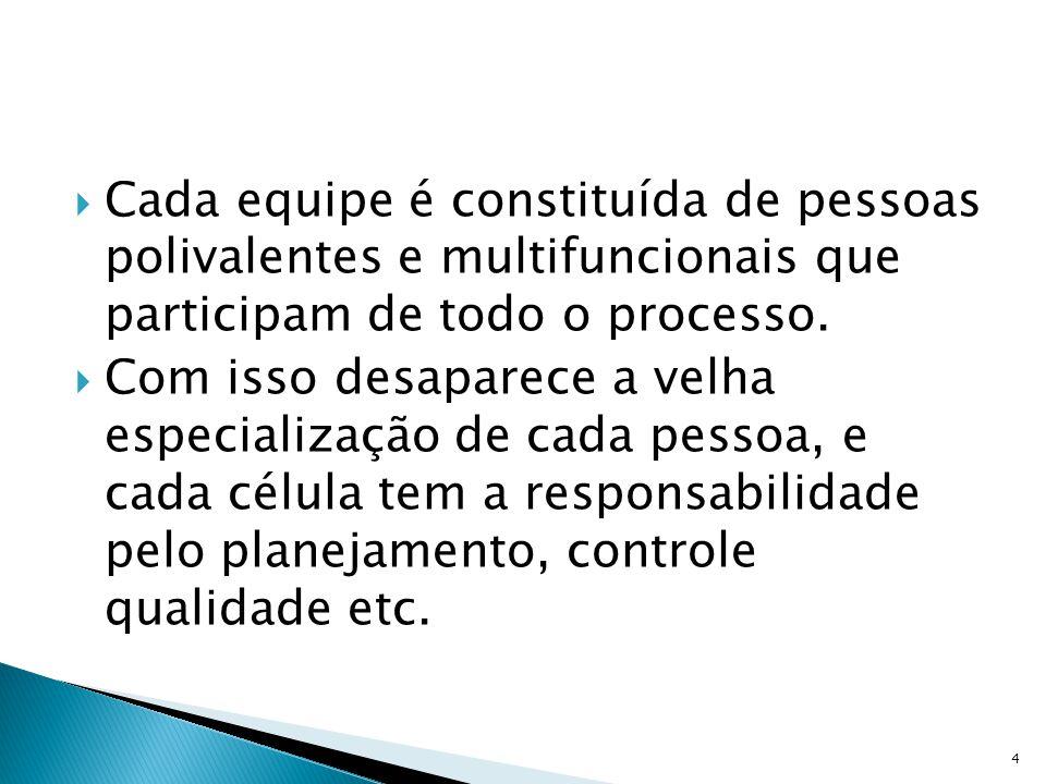 Cada equipe é constituída de pessoas polivalentes e multifuncionais que participam de todo o processo.
