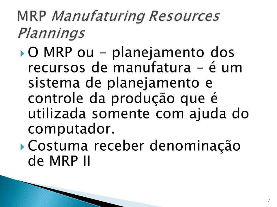 O MRP ou - planejamento dos recursos de manufatura – é um sistema de planejamento e controle da produção que é utilizada somente com ajuda do computador.