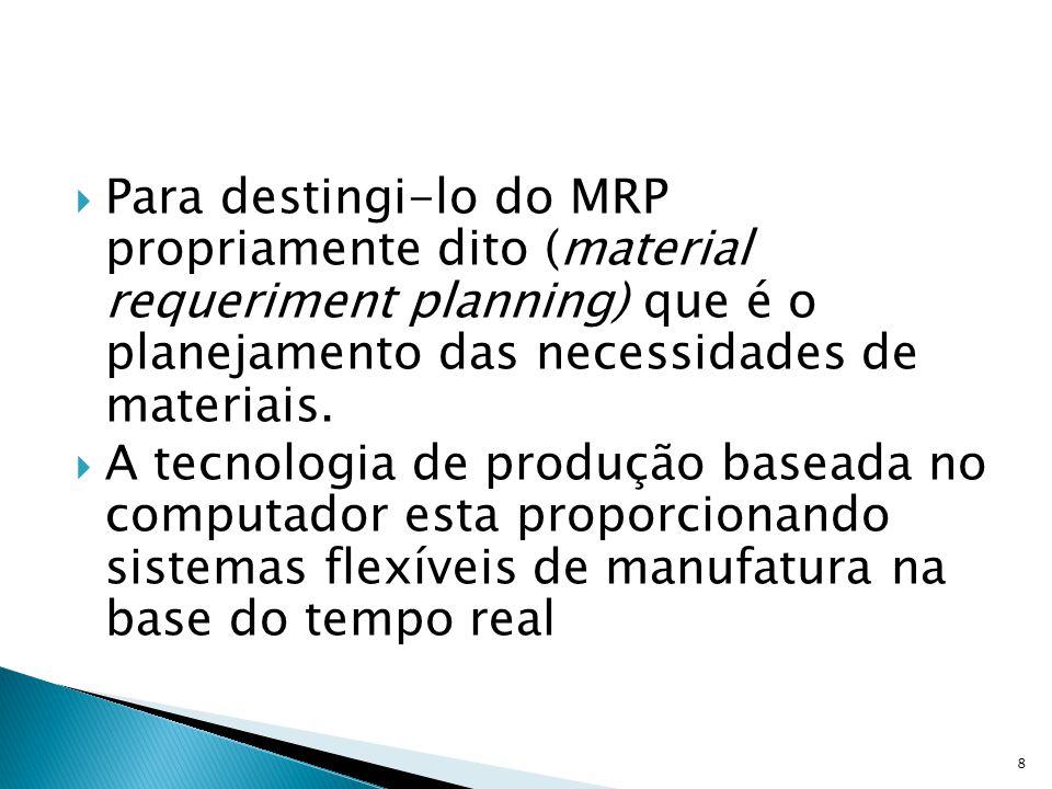 Para destingi-lo do MRP propriamente dito (material requeriment planning) que é o planejamento das necessidades de materiais.