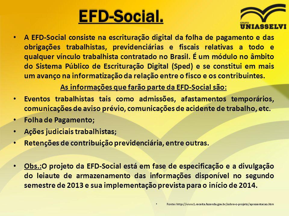 EFD-Social. A EFD-Social consiste na escrituração digital da folha de pagamento e das obrigações trabalhistas, previdenciárias e fiscais relativas a t