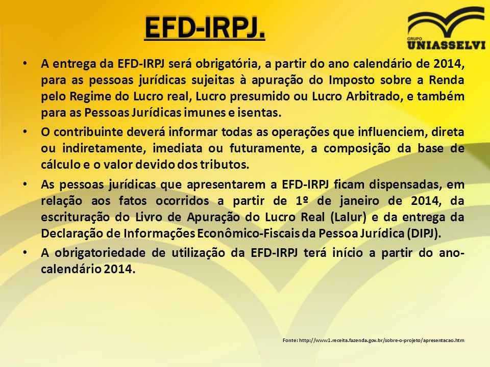EFD-IRPJ. A entrega da EFD-IRPJ será obrigatória, a partir do ano calendário de 2014, para as pessoas jurídicas sujeitas à apuração do Imposto sobre a