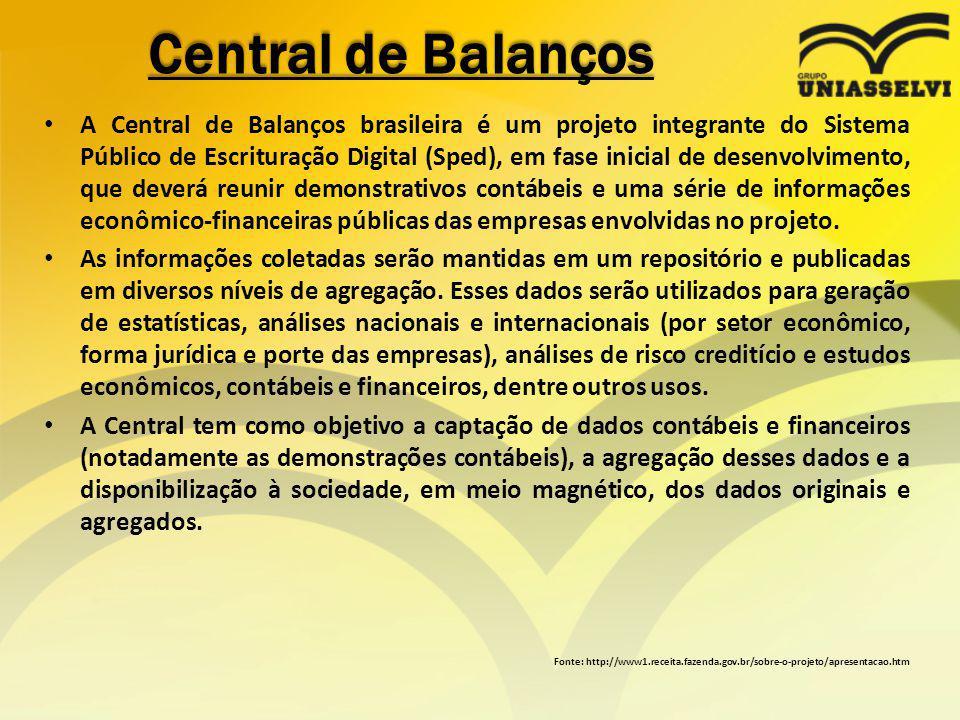 Central de Balanços A Central de Balanços brasileira é um projeto integrante do Sistema Público de Escrituração Digital (Sped), em fase inicial de des