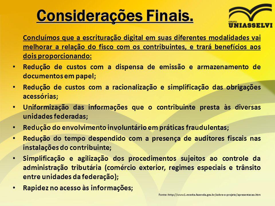 Considerações Finais.