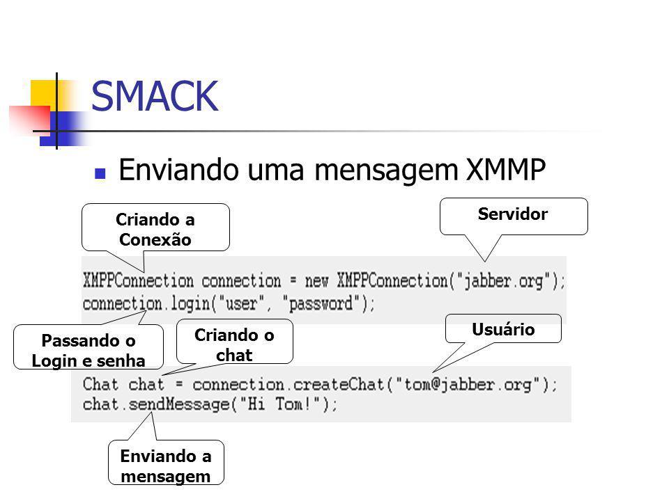 SMACK Enviando uma mensagem XMMP Criando a Conexão Passando o Login e senha Enviando a mensagem Criando o chat Servidor Usuário