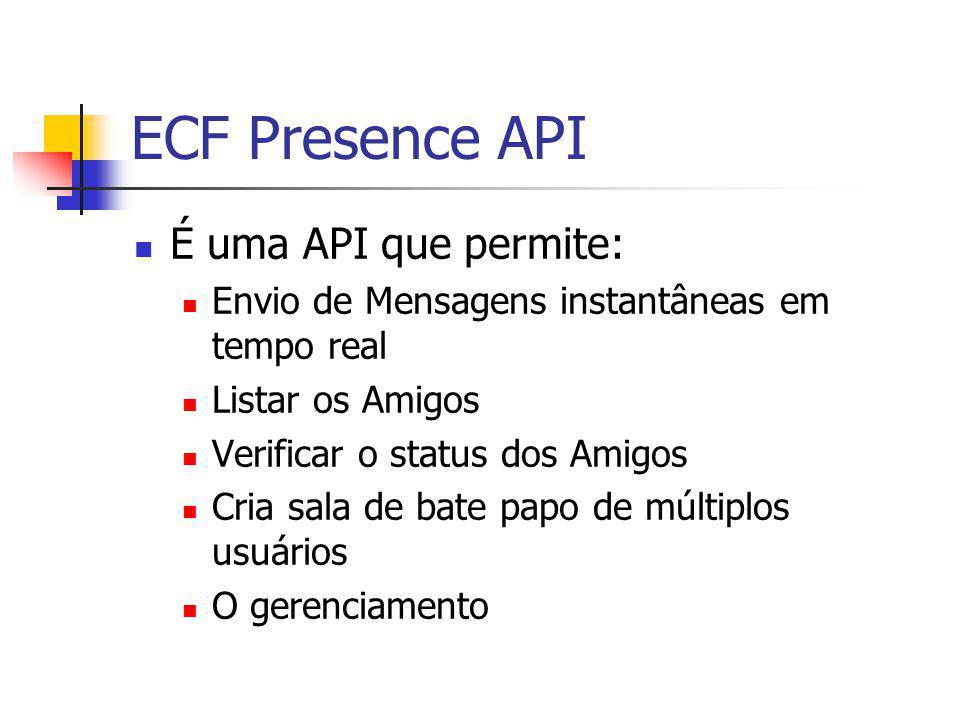 ECF Presence API É uma API que permite: Envio de Mensagens instantâneas em tempo real Listar os Amigos Verificar o status dos Amigos Cria sala de bate papo de múltiplos usuários O gerenciamento