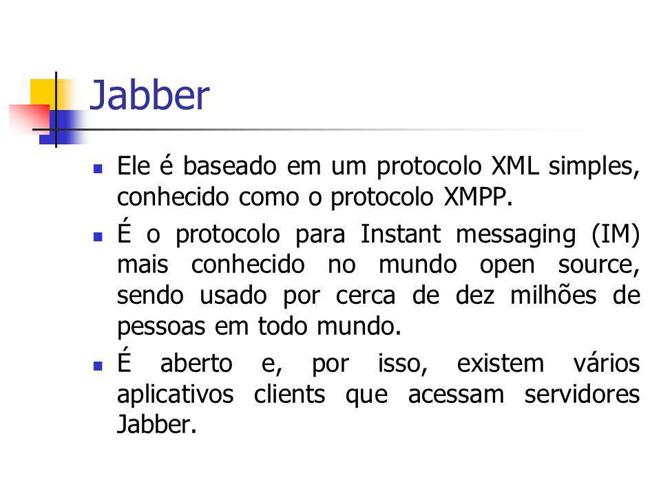 Jabber Ele é baseado em um protocolo XML simples, conhecido como o protocolo XMPP.