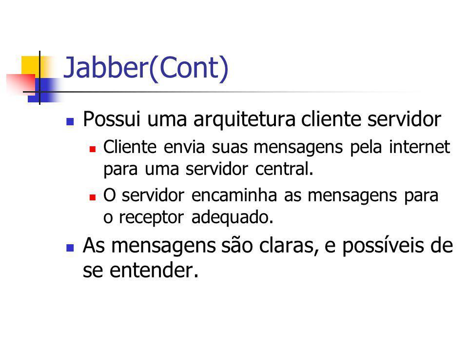 Jabber(Cont) Possui uma arquitetura cliente servidor Cliente envia suas mensagens pela internet para uma servidor central.