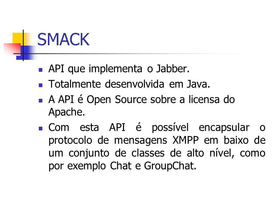SMACK API que implementa o Jabber. Totalmente desenvolvida em Java.