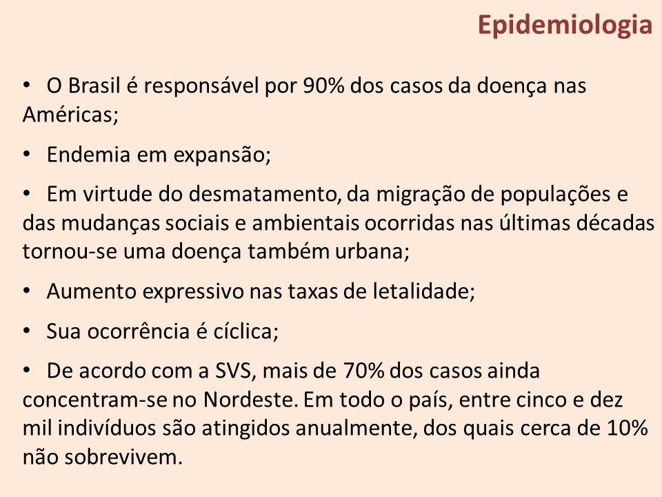 O Brasil é responsável por 90% dos casos da doença nas Américas; Endemia em expansão; Em virtude do desmatamento, da migração de populações e das muda