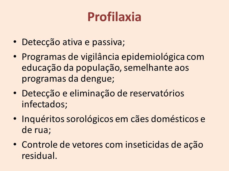Detecção ativa e passiva; Programas de vigilância epidemiológica com educação da população, semelhante aos programas da dengue; Detecção e eliminação