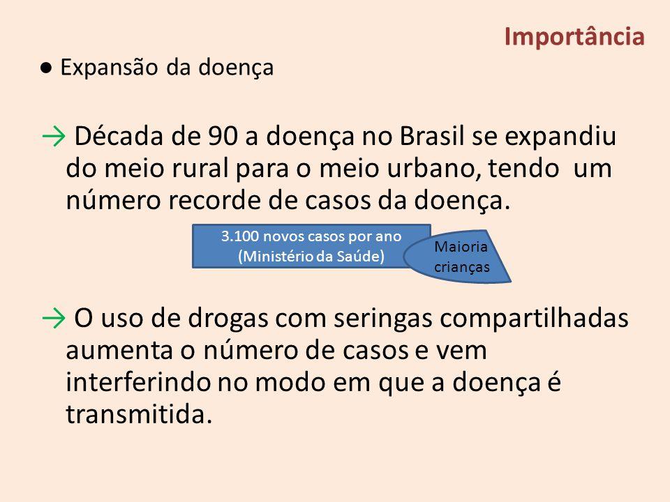 Década de 90 a doença no Brasil se expandiu do meio rural para o meio urbano, tendo um número recorde de casos da doença. O uso de drogas com seringas