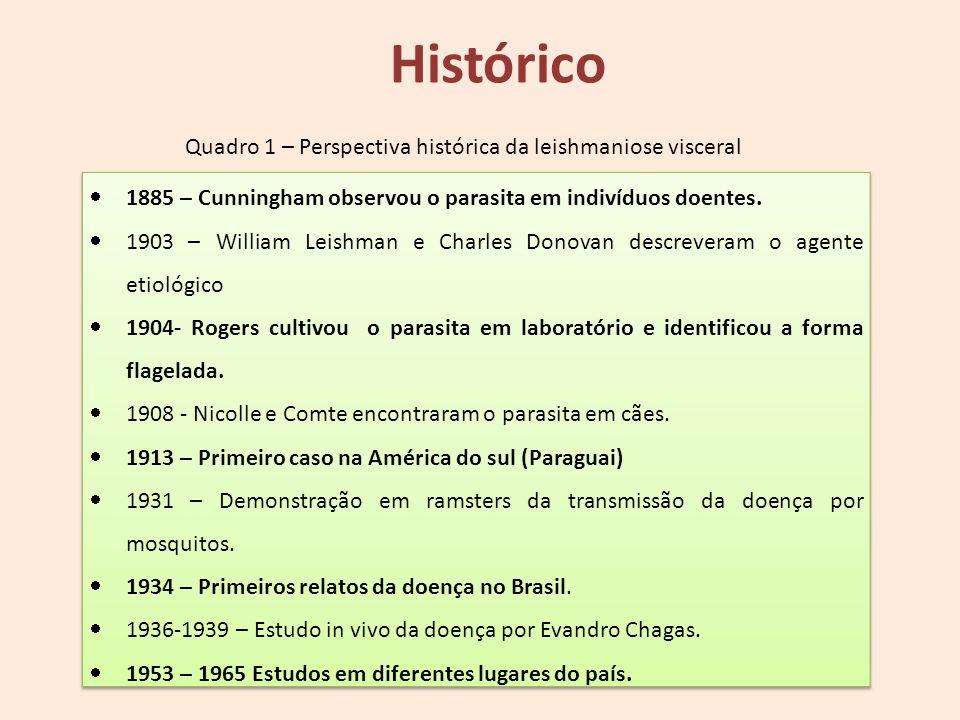 Quadro 1 – Perspectiva histórica da leishmaniose visceral Histórico