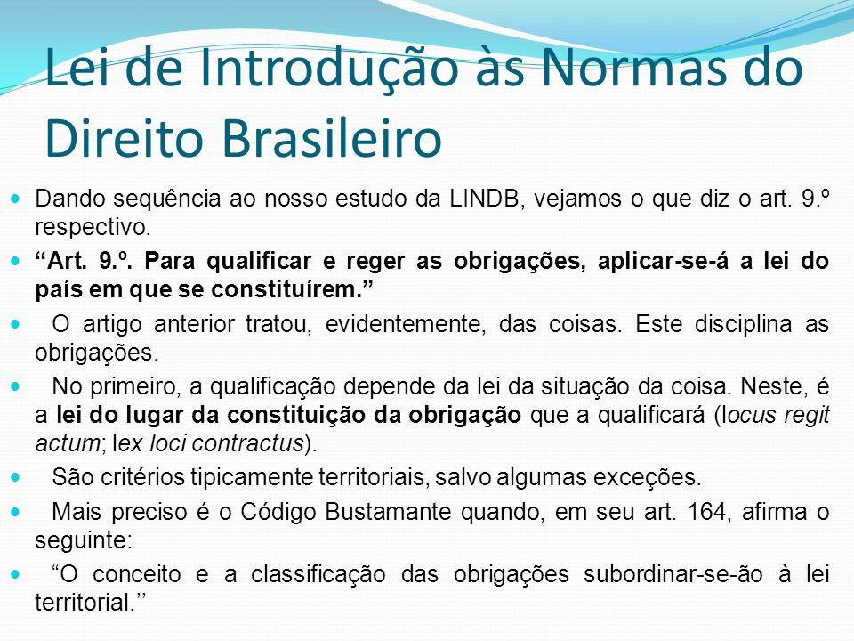 Lei de Introdução às Normas do Direito Brasileiro Dando sequência ao nosso estudo da LINDB, vejamos o que diz o art. 9.º respectivo. Art. 9.º. Para qu