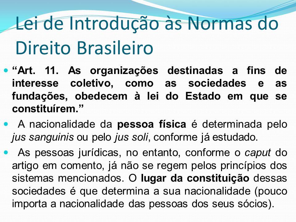 Lei de Introdução às Normas do Direito Brasileiro Art. 11. As organizações destinadas a fins de interesse coletivo, como as sociedades e as fundações,
