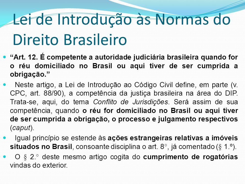 Lei de Introdução às Normas do Direito Brasileiro Art. 12. É competente a autoridade judiciária brasileira quando for o réu domiciliado no Brasil ou a