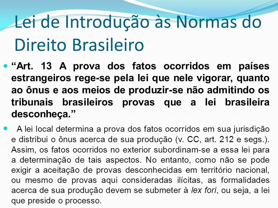 Lei de Introdução às Normas do Direito Brasileiro Art. 13 A prova dos fatos ocorridos em países estrangeiros rege-se pela lei que nele vigorar, quanto