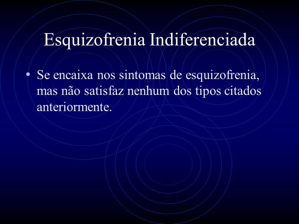 Esquizofrenia Indiferenciada Se encaixa nos sintomas de esquizofrenia, mas não satisfaz nenhum dos tipos citados anteriormente.