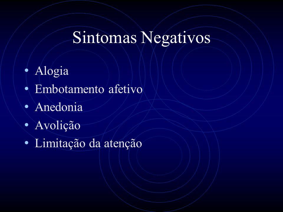 Sintomas Negativos Alogia Embotamento afetivo Anedonia Avolição Limitação da atenção