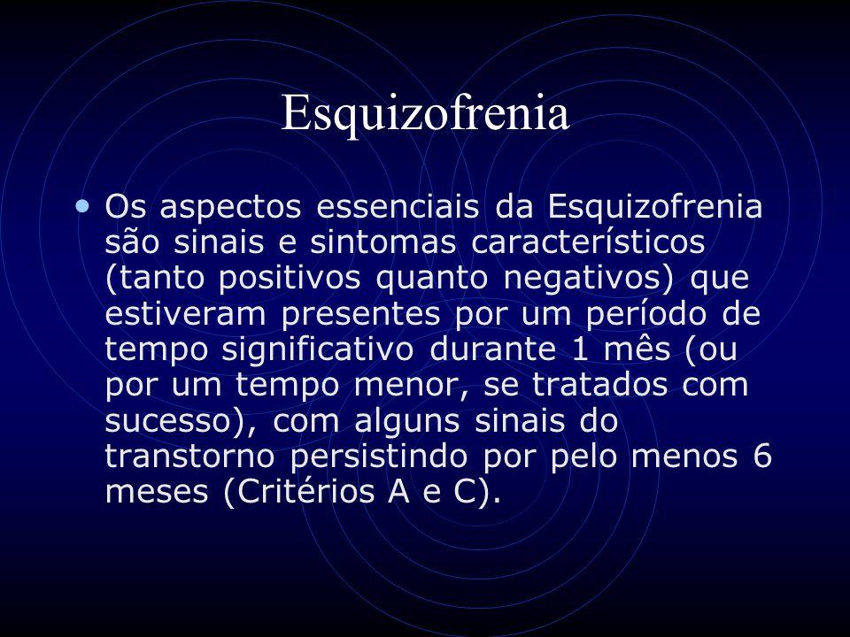 Esquizofrenia Os aspectos essenciais da Esquizofrenia são sinais e sintomas característicos (tanto positivos quanto negativos) que estiveram presentes