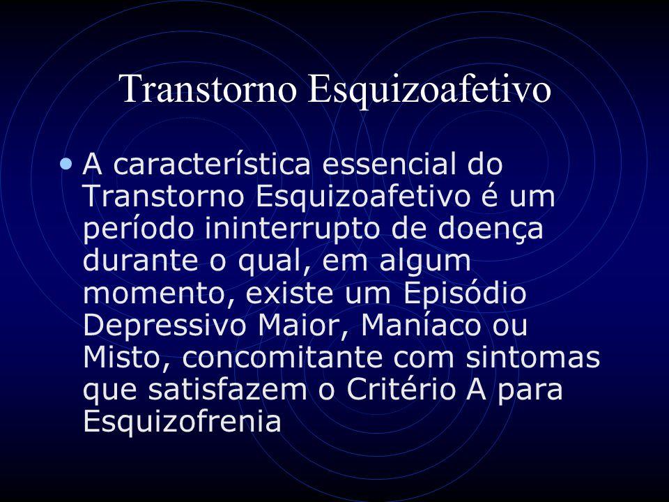 Transtorno Esquizoafetivo A característica essencial do Transtorno Esquizoafetivo é um período ininterrupto de doença durante o qual, em algum momento