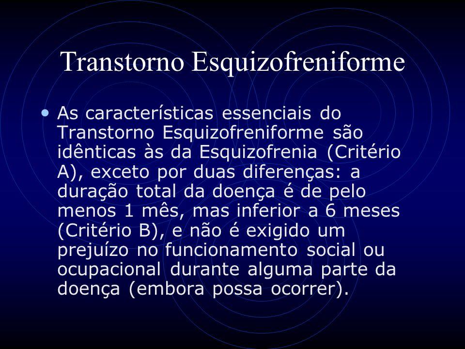 Transtorno Esquizofreniforme As características essenciais do Transtorno Esquizofreniforme são idênticas às da Esquizofrenia (Critério A), exceto por