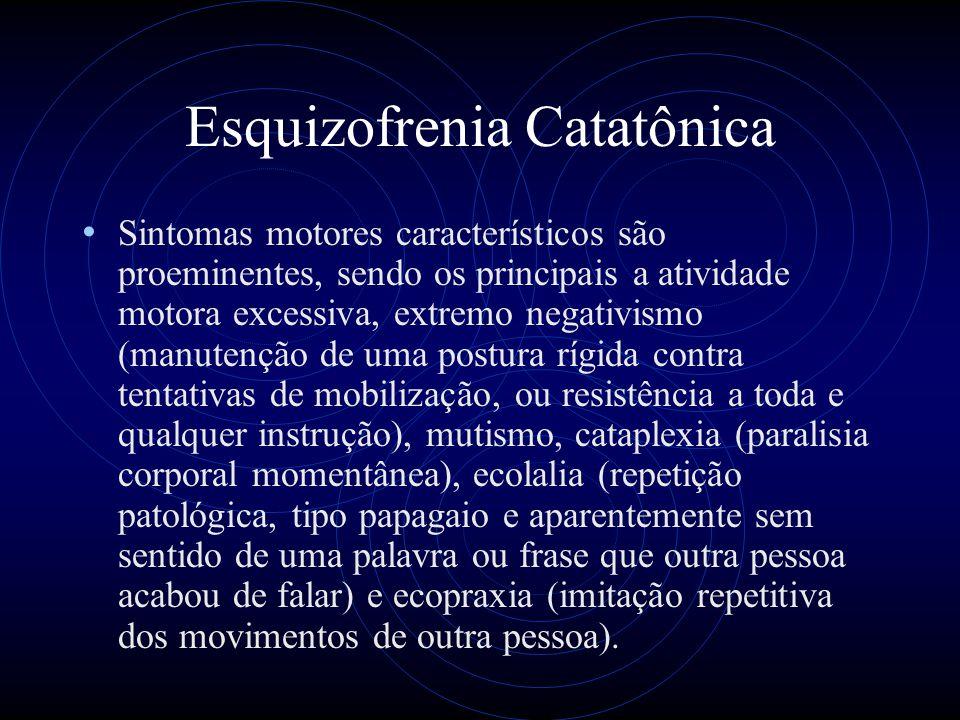 Esquizofrenia Catatônica Sintomas motores característicos são proeminentes, sendo os principais a atividade motora excessiva, extremo negativismo (man